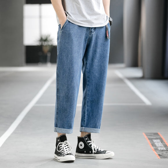 Men's Vintage Straight Jeans Plus Size Hip Hop Blue Cargo Jean for Men Mens Denim Pants Men Fashion 2020 Trousers