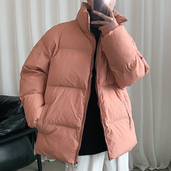 Privathinker 2020 Winter New Men's Casual Warm Parkas Women's Oversize Winter Coat Men Thicken Zipper Japanese Style Parka