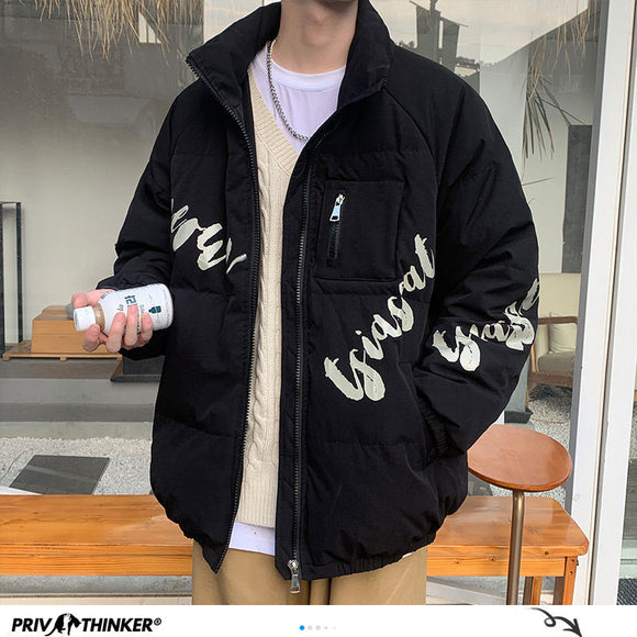 Privathinker Men's Oversized Winter White Duck Down Jacket Harajuku Graphic Warm Coats 2020 Korean Warm Windbreaker Jacket