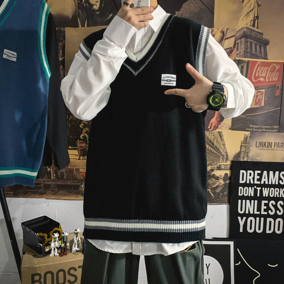 Privathinker 2020 Winter New Men's Sleeveless Casual Sweater Woman Korean Student Loose Sweater Man Streetwear Fashion Clothing