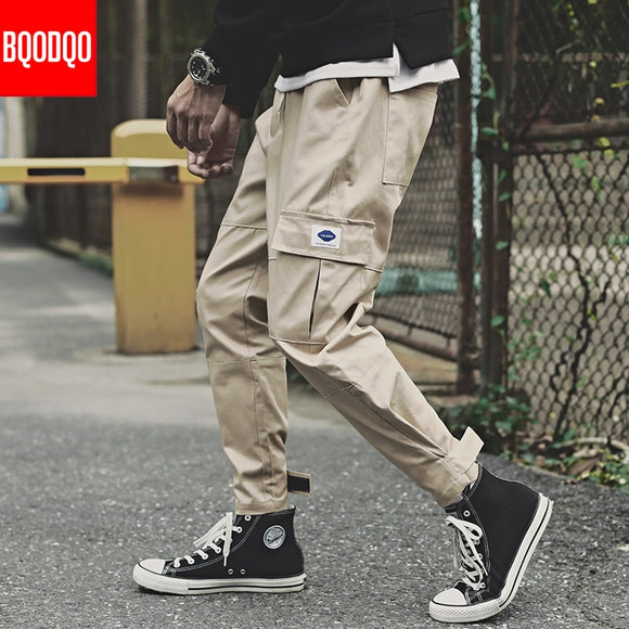 Hip Hop Casual Harem Pants For Men Autumn High Street Cotton Joggers Trousers Streetwear Male Baggy Drawstring Sports Cargo Pant