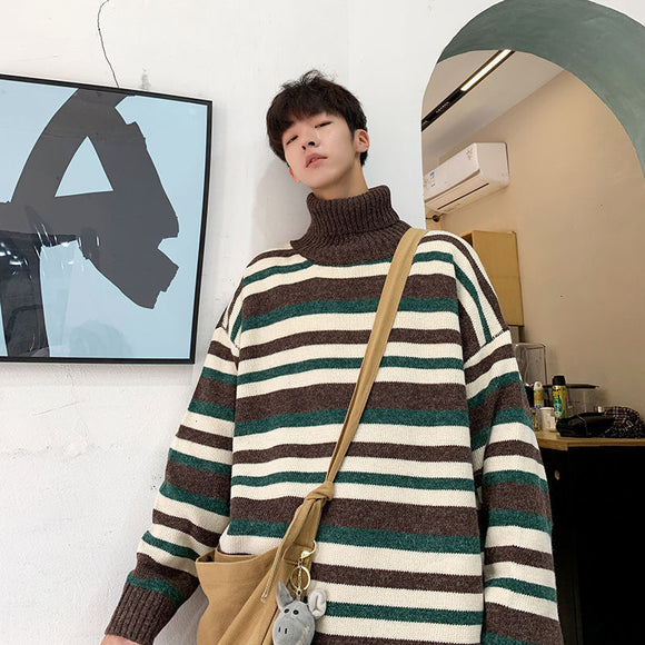 Privathinker 2020 Autumn Winter Men's Striped Turtleneck Sweater Man Fashion Casual Oversize Pullovers Streetwear Male Clothing