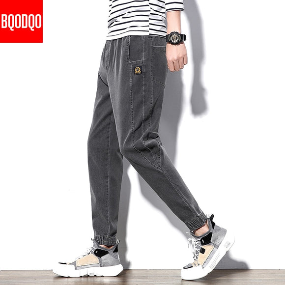 Black Denim Jeans Trouser Men Cotton Japan Style Autumn Streetwear Regular Casual Pant Male Fashion Slim Fit Hip Hop Harem Pants