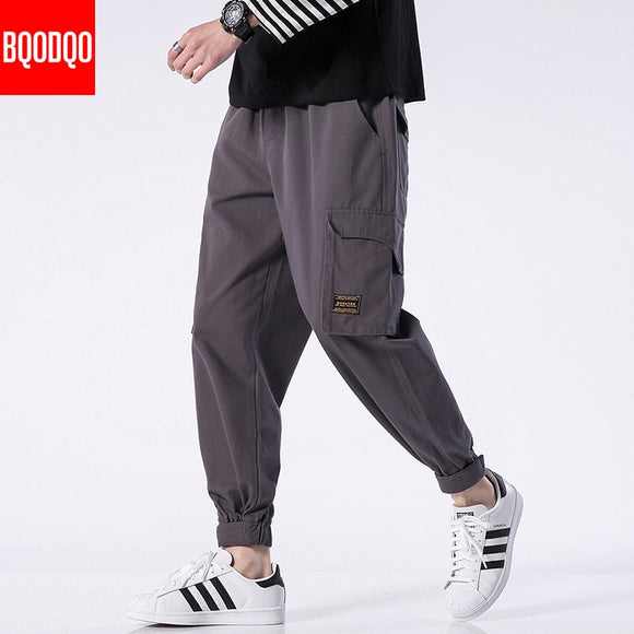 Fashion Cargo Casual Pants Men Hip Hop Cotton Japanese Joggers Army Trousers Mens Streetwear Stylish Black Military Harem Pant