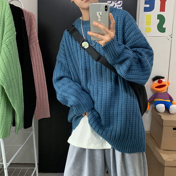 Privathinker Autumn Warm Solid Men's Sweaters Korean Men Oversized Knitted Pullovers Harajuku Casual Sweater Tops Man Clothes