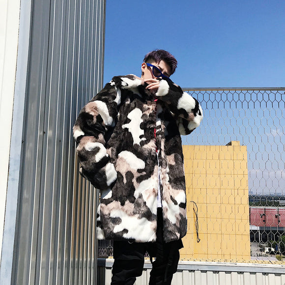 Privathinker 2020 Winter Men's Casual Faux Fur Parkas Korean Streetwear Woman Coat Camouflage Male Fashion Thicken Clothing