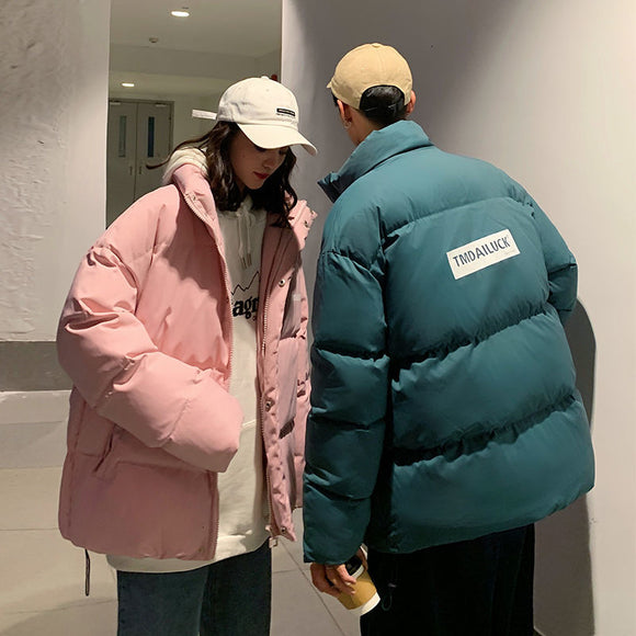 Privathinker 2020 Winter New Stand Collar Couple Parkas Man Casual Oversize Warm Streetwear Coats Man Fashion Clothing