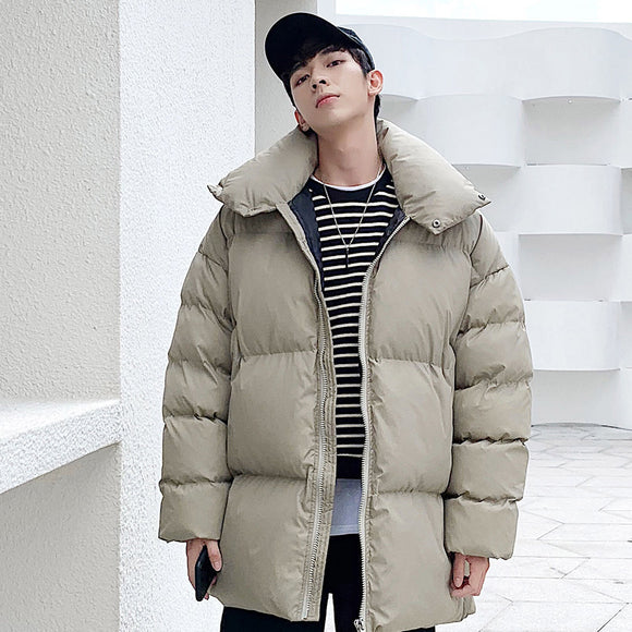 Privathinker Men's Oversized Fashion Parkas Casual Oversize Woman Solid Color Hooded Parka Korean Streetwear Man Winter Clothes