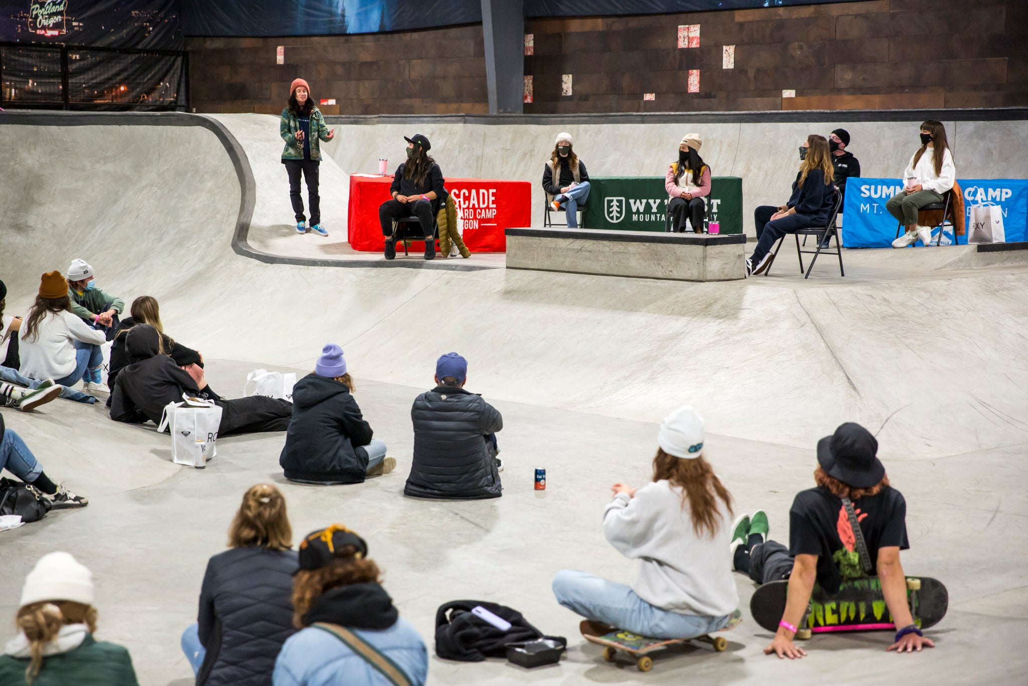 IT'S TITS! attendees gathered (following all COVID regulations) in BOB, the indoor skatepark at High Cascade for the first-ever Pitch Sessions panel discussion. // p: Ashley Rosemeyer