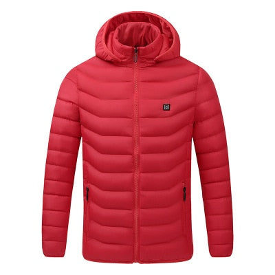 2020 NWE Men Winter Warm USB Heating Jackets Smart Thermostat Pure Color Hooded Heated Clothing Waterproof  Warm Jackets