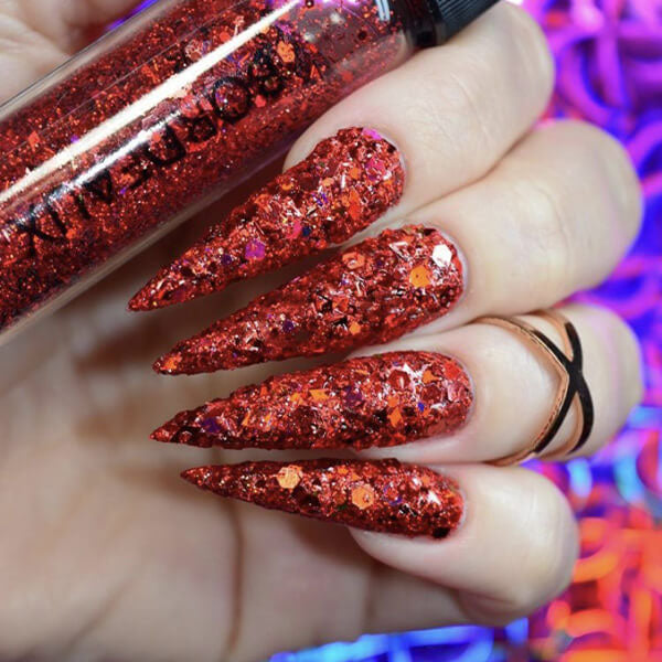 Bordeaux Red Nail Glitter