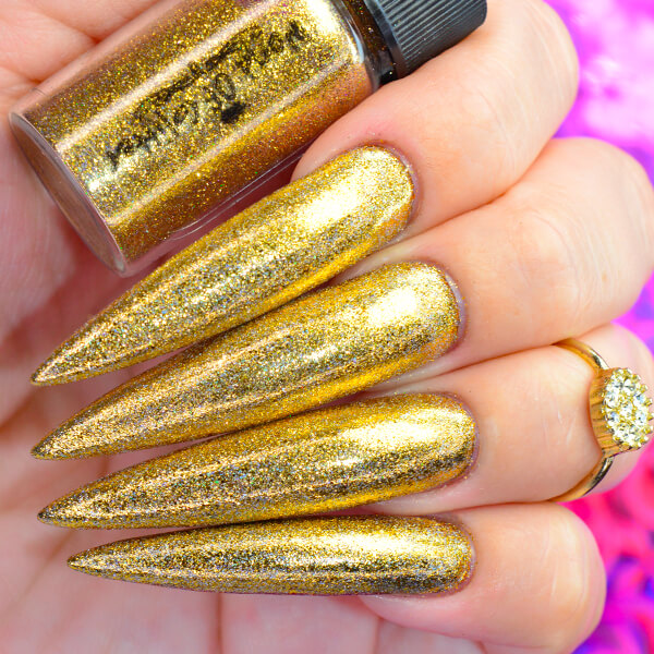 Galaxy Gold Holographic Nail Chrome