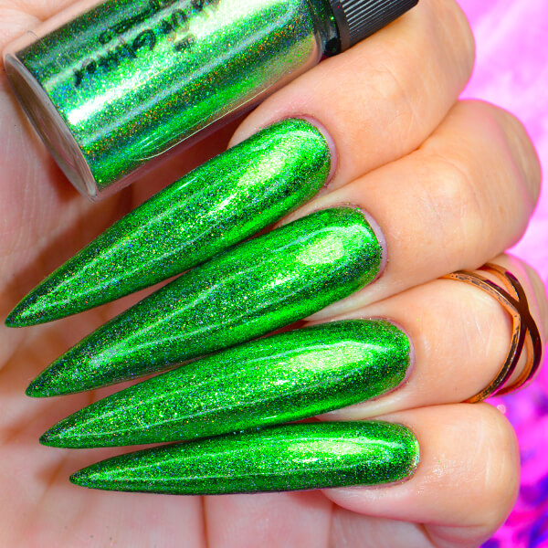 Galaxy Green Holographic Nail Chrome