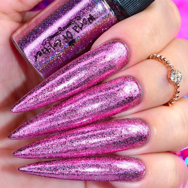 Galaxy Pink Holographic Nail Chrome