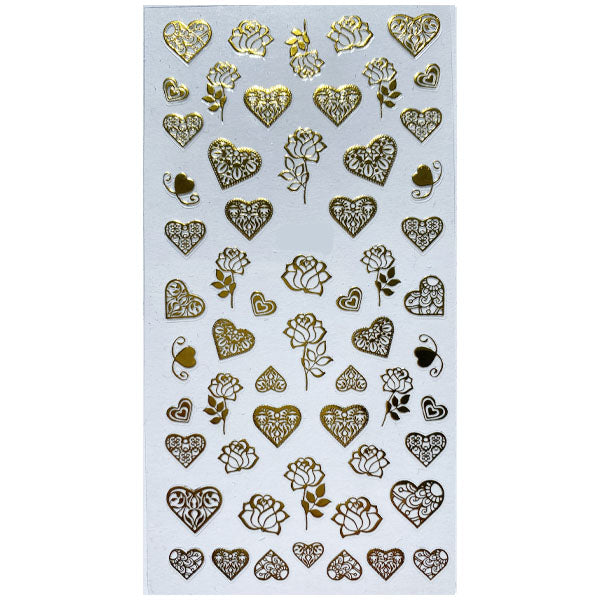 Hearts And Roses Gold Sticker Sheet