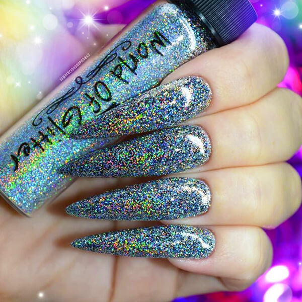 London Super Charged Silver Holo Nail Glitter