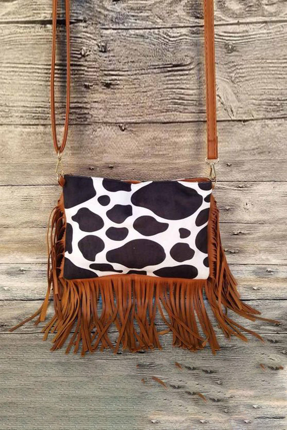 Cow Print Fringe Purse