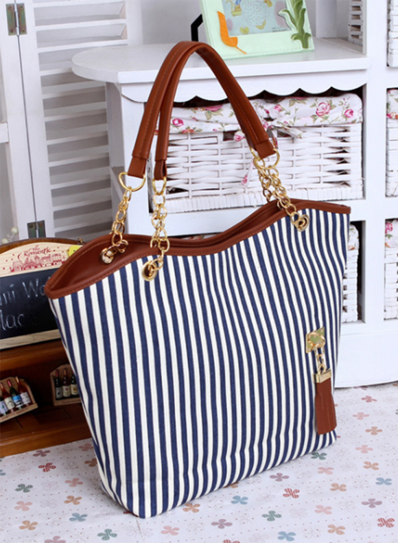 Dark Blue Stripped Bag