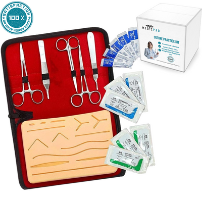 Suture Practice Kit With Tools & Storage Case