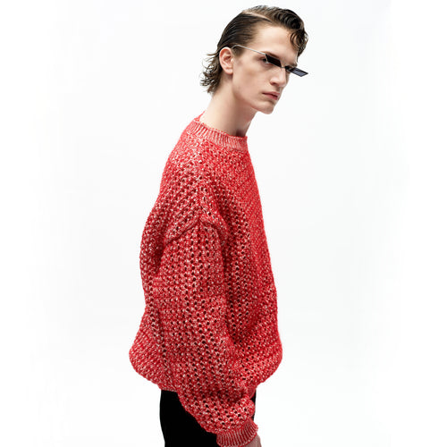 angel chen red mohair pointelle round neck pullover