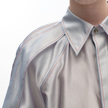 Load image into Gallery viewer, angel chen pleated sleeves metallic shirt collar detail