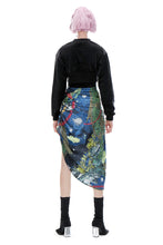Load image into Gallery viewer, angel chen universe print asymmetric skirt with crop top outfit
