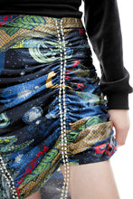 Load image into Gallery viewer, angel chen universe print asymmetric skirt crystal trimming detail