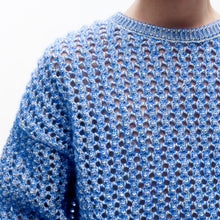 Load image into Gallery viewer, angel chen blue mohair pointelle round neck pullover detail