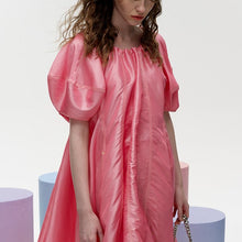 Load image into Gallery viewer, angel chen puffed sleeves a-line dress pink