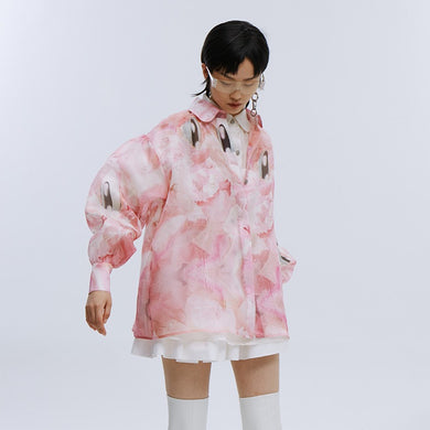 angel chen pink print ballon sleeves shirt