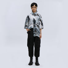 Load image into Gallery viewer, angel chen grey marble print beach shirt with black pants outfit