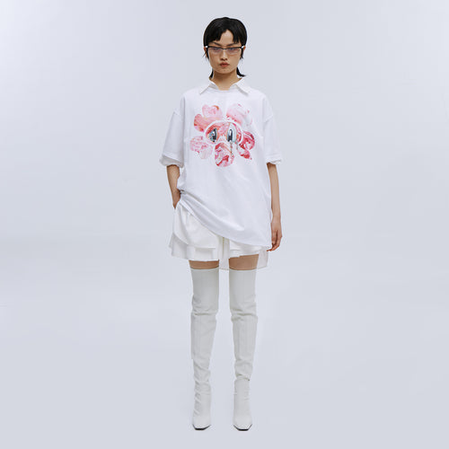 angel chen flower character print loose fit t-shirt outfit