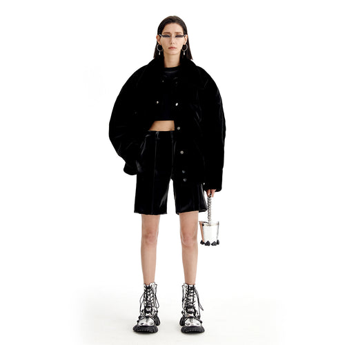 angel chen faux fur oversized jacket with shorts outfir