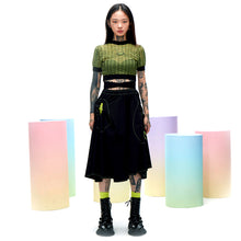 Load image into Gallery viewer, angel chen cropped knit top match with black skirt outfit