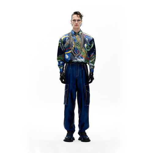 angel chen universe print shirt with blue trousers outfit
