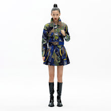 Load image into Gallery viewer, angel chen universe jacquard cropped jacekt with matching mini skirt outfit