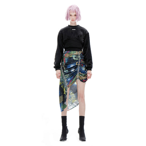 angel chen universe print asymmetric skirt with crop top outfit