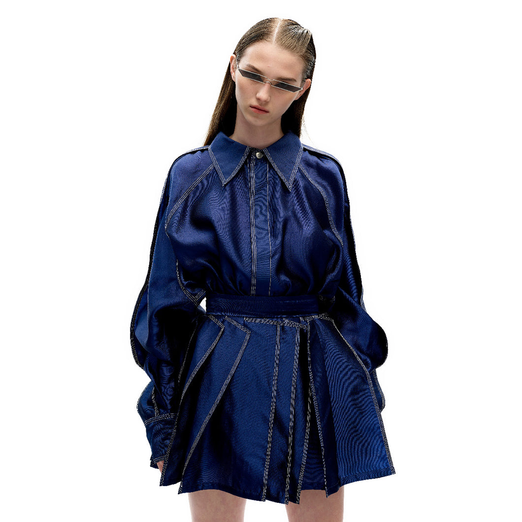 angel chen blue shimmer finish 3D pleat mini skirt with matching shirt outfit