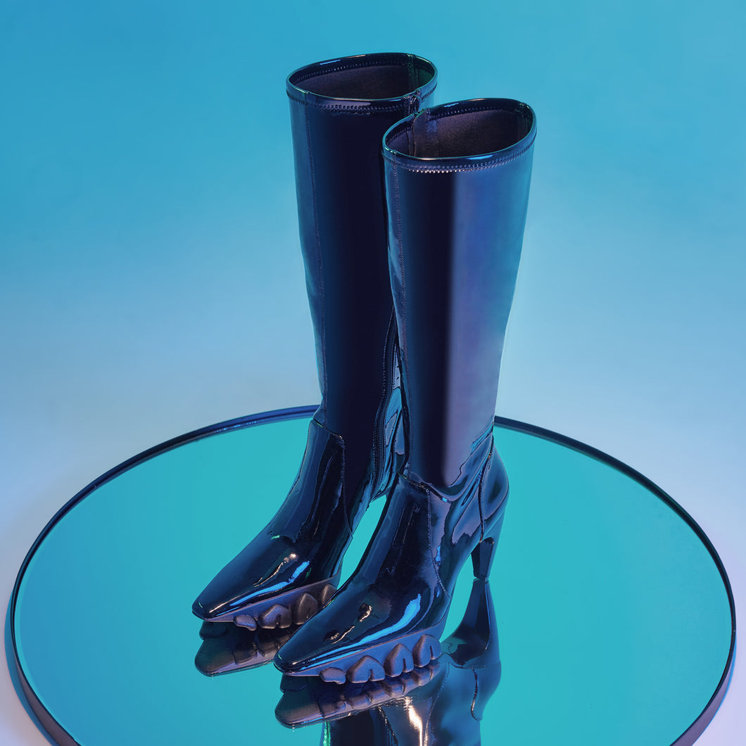 PATENT LEATHER DRAGON TEETH KNEE-LENGTH BOOTS