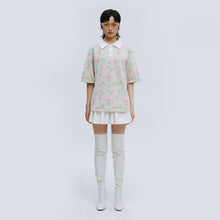 Load image into Gallery viewer, angel chen floral jacquard short sleeves polo shirt with mini skirt outfit