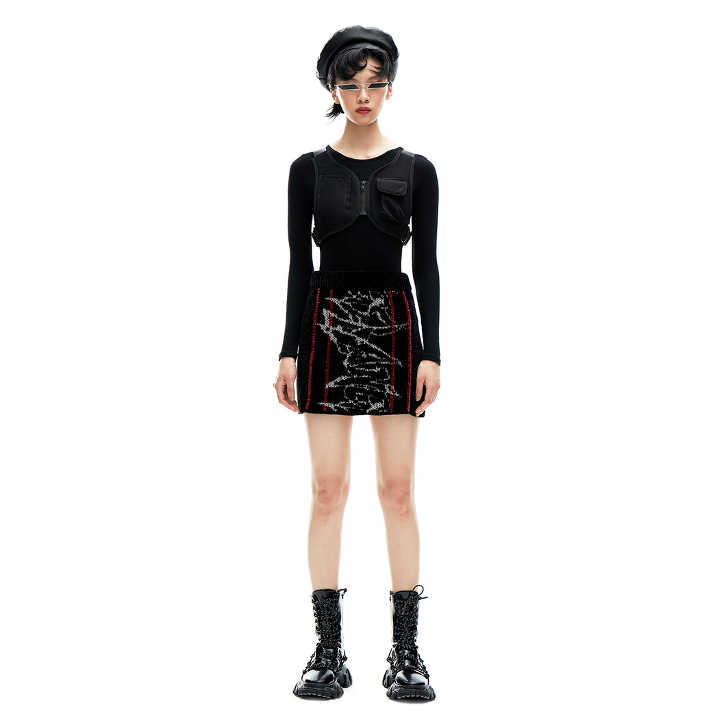 angel chen jacquard knit mini skirt outfit