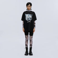 Load image into Gallery viewer, angel chen big boss print cotton black t-shirt with mesh leggings outfit