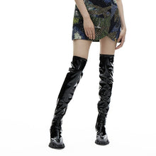 Load image into Gallery viewer, PATENT LEATHER DRAGON TEETH KNEE-HIGH BOOTS