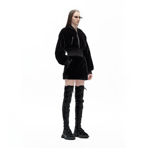 angel chen faux fur mini skirt with matching cropped jacket outfit