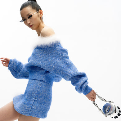 angel chen blue mohair knit cropped sweater with matching skirt outfit