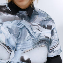 Load image into Gallery viewer, angel chen grey marble print cotton t-shirt detail