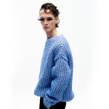 Load image into Gallery viewer, angel chen blue mohair pointelle round neck pullover