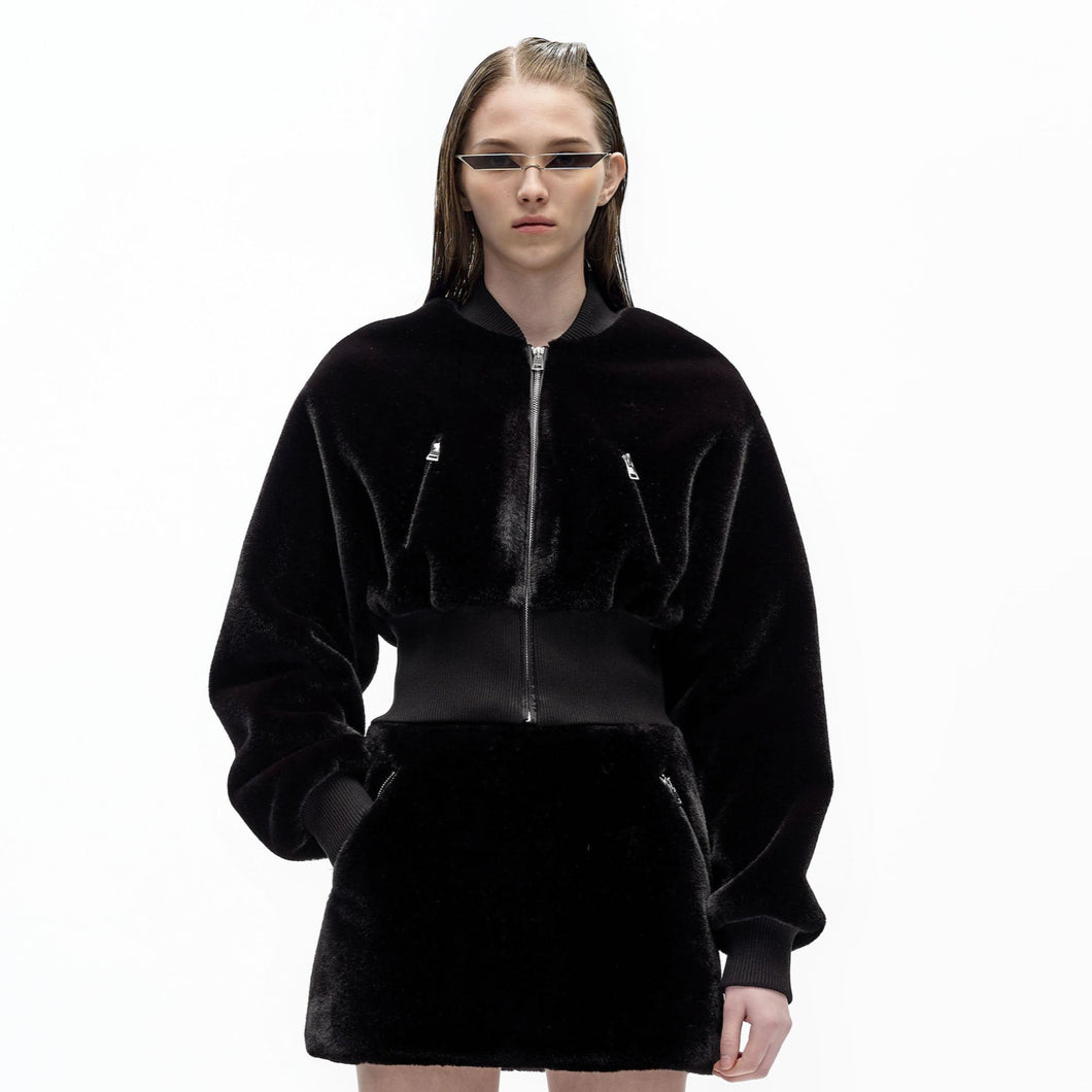 angel chen faux fur cropped bomber jacket with matching mini skirt outfit