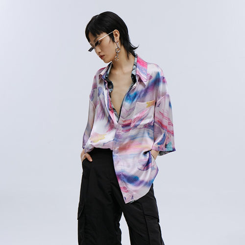 angel chen pink pastel marble print beach shirt with black trousers outfit