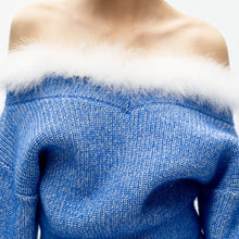 Load image into Gallery viewer, angel chen blue mohair knit cropped sweater detail